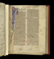 Historiated Initial With St. Jerome Writing, And An Ownership Inscription, In A Bible